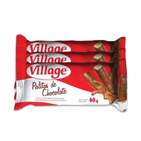 Palitos de Chocolate ao leite 60g contendo 3 Unidades Village