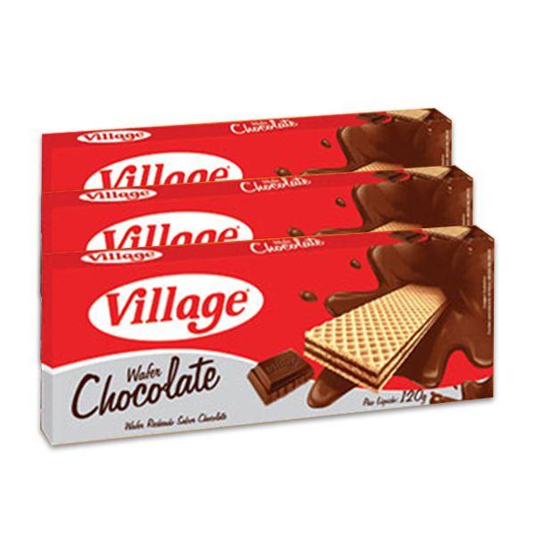 Biscoito Wafer Village Chocolate 120g contendo 3 unidades