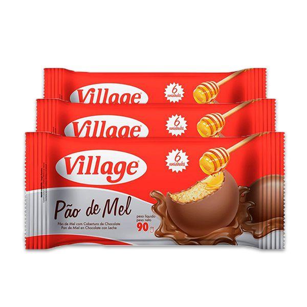 Pão de Mel Village contendo 3 unidades