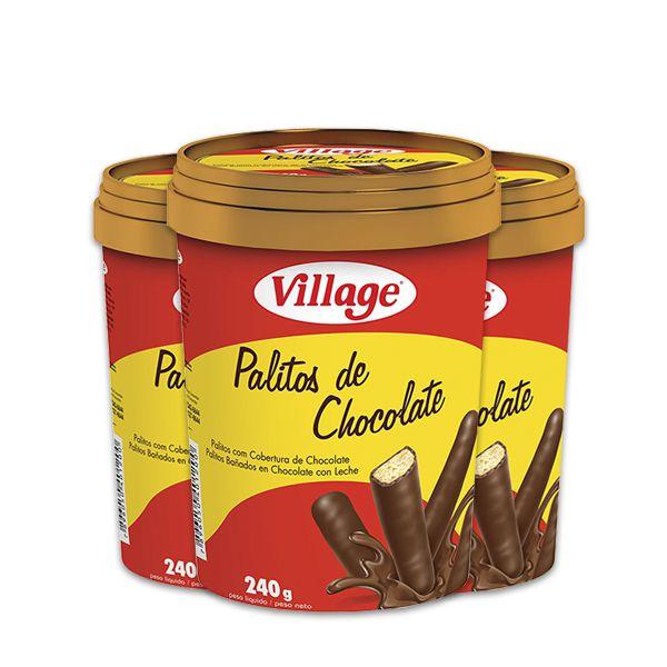 Pote Palitos de Chocolate ao leite 240g Village contendo 3 unidades