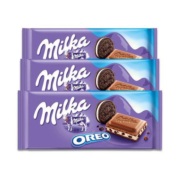 Chocolate Milka Oreo contendo 3 tabletes de 100g cada
