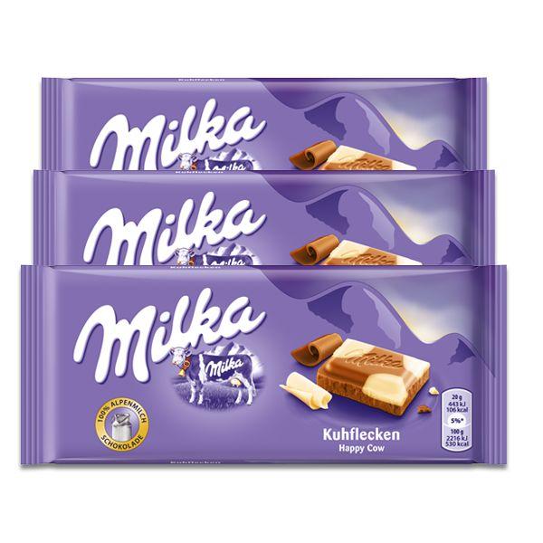 Chocolate Milka Malhado Kuhflecken contendo 3 tabletes de 100g cada