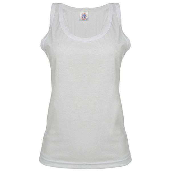 855f42487f Camiseta Regata Feminina de Poliester - Branca - Sublima e Ação