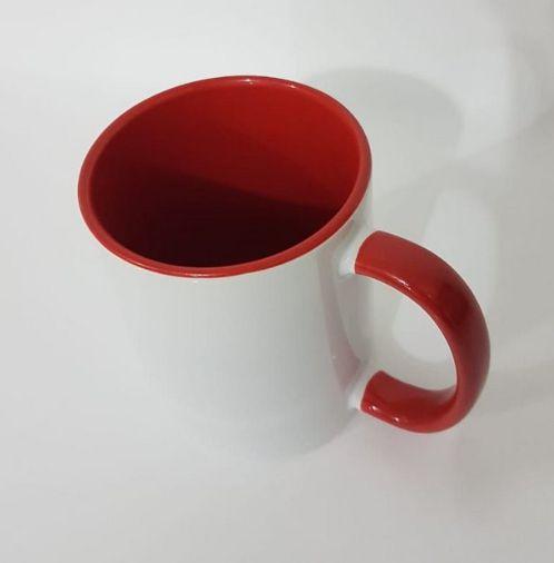 Caneca de porcelana para sublimação Alça e interior Vermelho