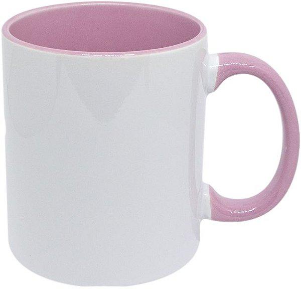 Caneca de porcelana para sublimação Alça e interior Rosa