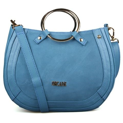 Bolsa de Couro Azul Denim Alça Metal - Orcade e85f349e2df