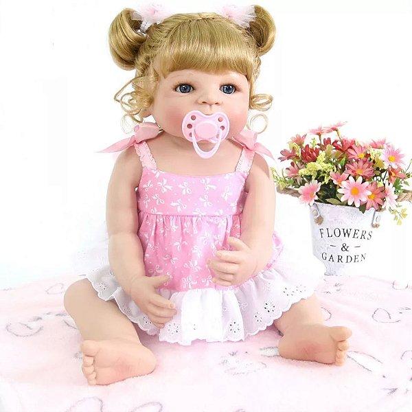 23409df1e3 Boneca Bebê Reborn Realista Menina Inteira de Silicone Loira ANA CLARA
