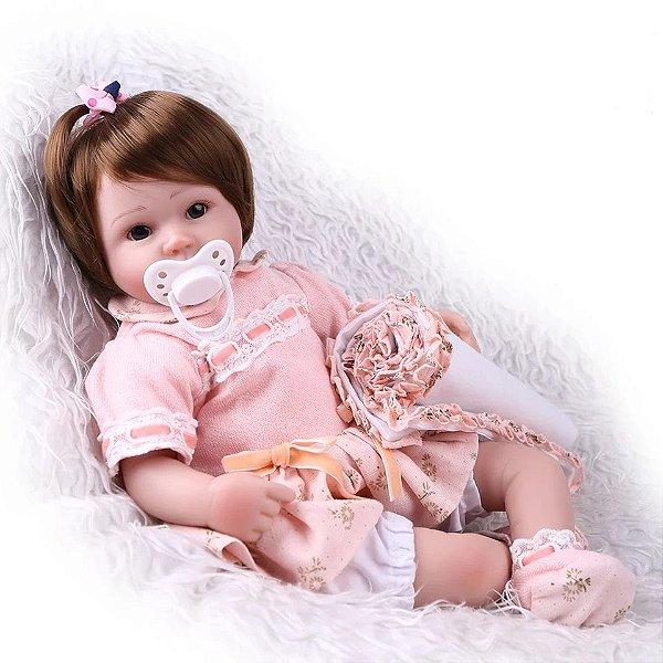 e30b34e6eb Boneca Bebê Reborn Menina Silicone Macio Realista ANA LARA - Doce ...