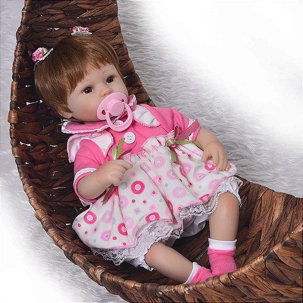 8bab39d093 Boneca Bebê Reborn Menina Membros de Silicone Macio Realista LAURINHA