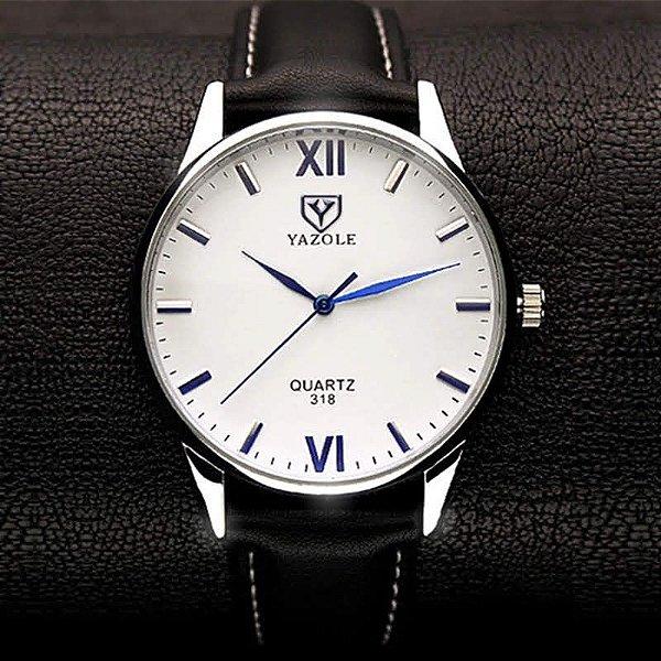 2a65166e39f Relógio Masculino Yazole 318 Pulseira de Couro Analógico Sofisticado  Original