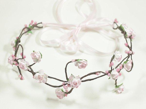Tiara de Flores Pequena Rosa