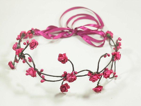 Tiara de Flores Pequena Pink