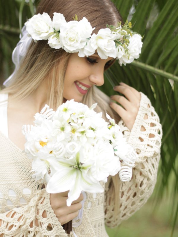Kit Noiva: Tiara de Flores + Buquê Florenza