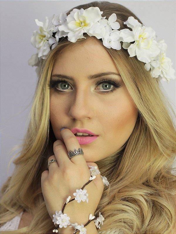 Tiara de Flores Branca Cristal