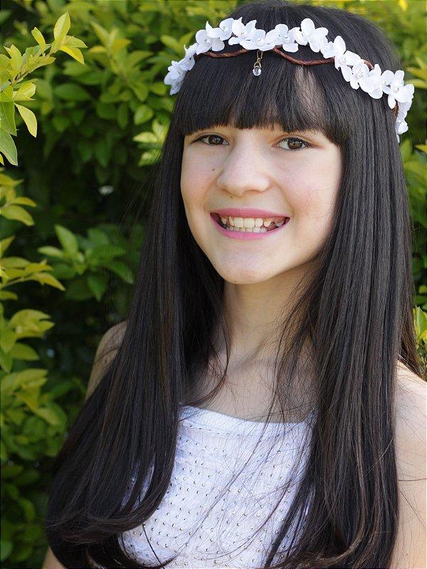 Tiara de Flores Infantil Branca Melodia