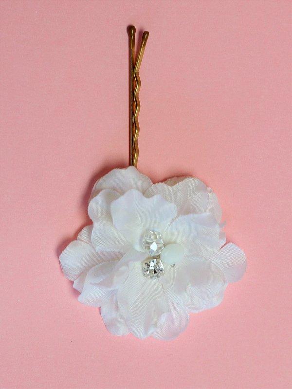 Jogo de Grampos de Flores União Branco