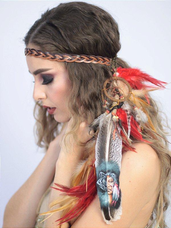 Headband de Penas Vermelho Cacique