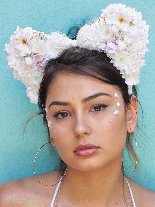 Tiara Minnie Flores Malibu Branca