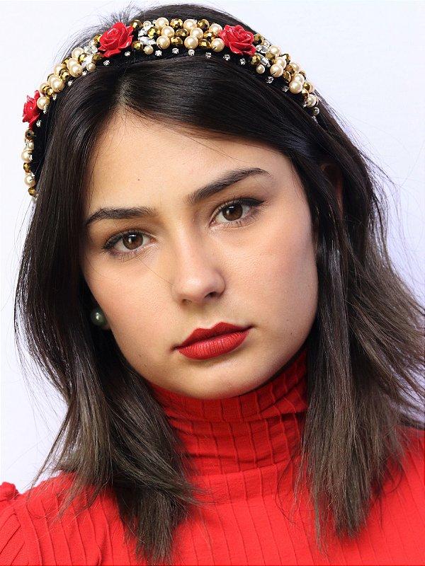 Tiara Veludo Pedrarias Roses