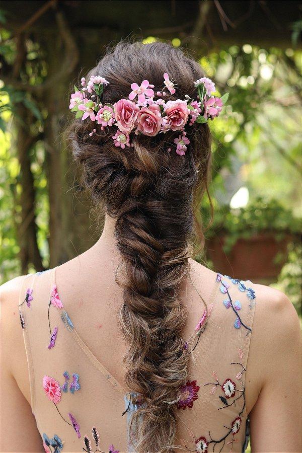 Arranjo de Cabelo Flores Romance Rosa