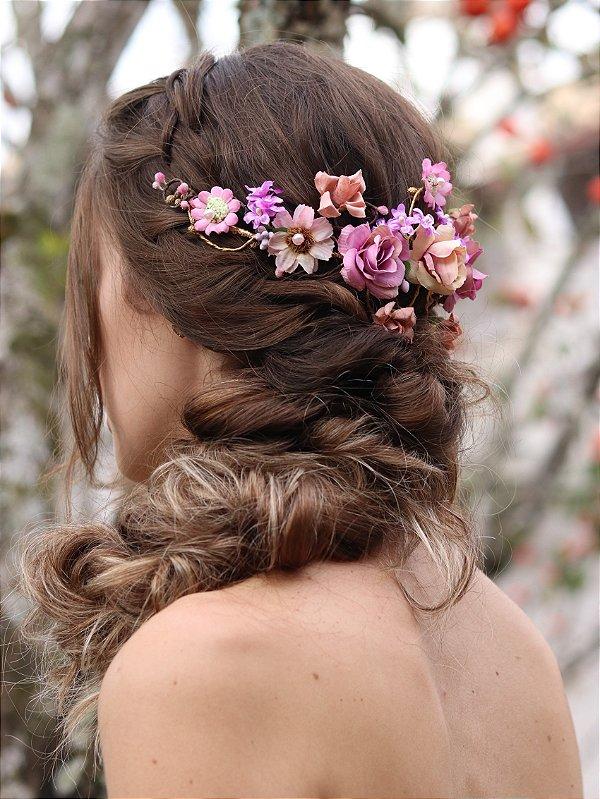 Arranjo de Cabelo Flores Química Perfeita