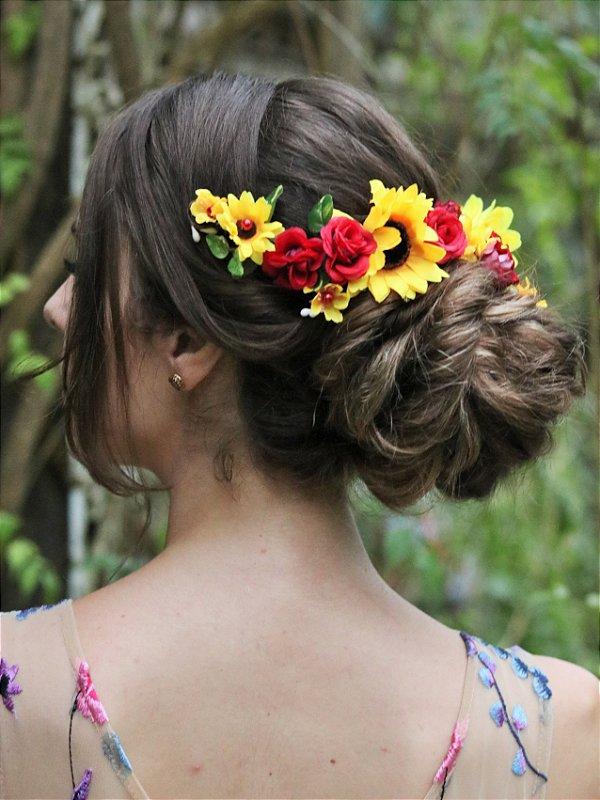 Arranjo de Cabelo Flores Sol Pra Mim