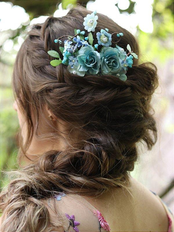 Pente de Cabelo Flores Romance Azul