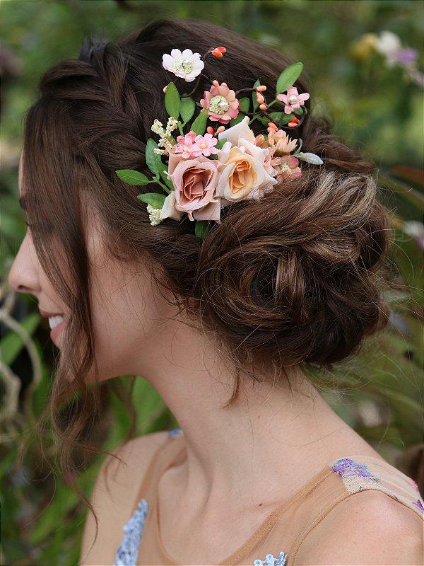 Pente de Cabelo Flores Beleza Rara