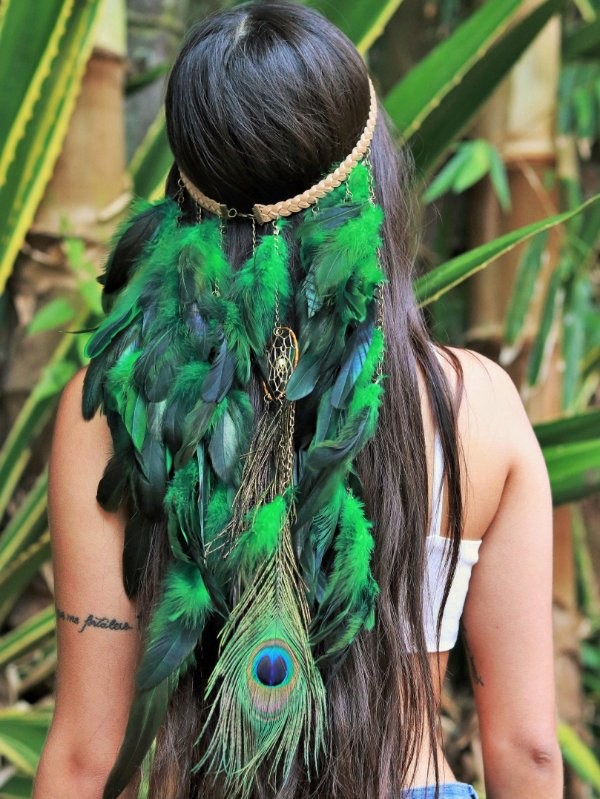 Headband de Penas Pavão