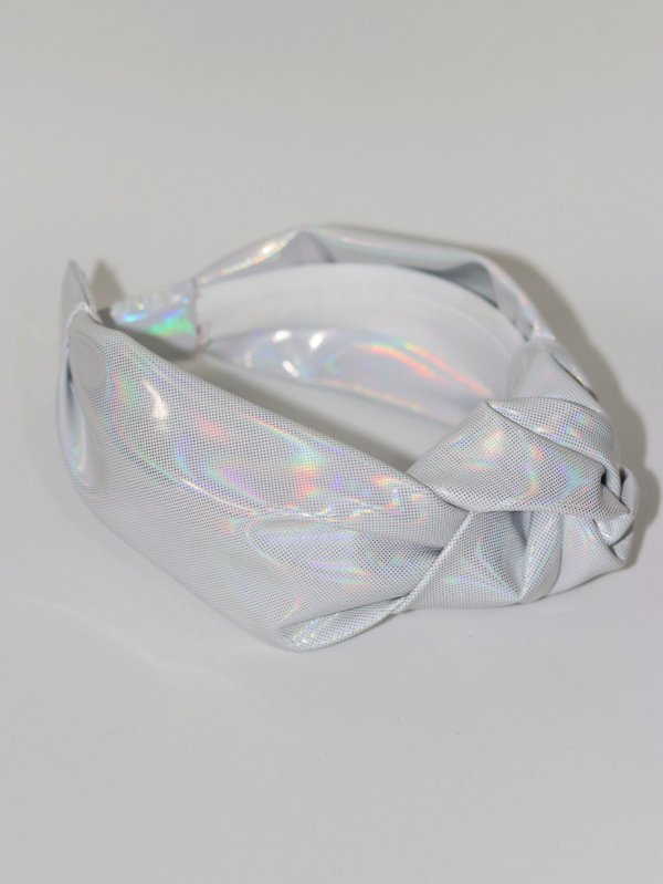 Tiara Chloe  Holográfica Metal Branca