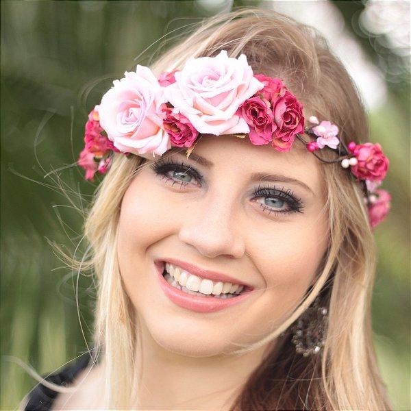 Coroinha de Flores Red Lips Pink