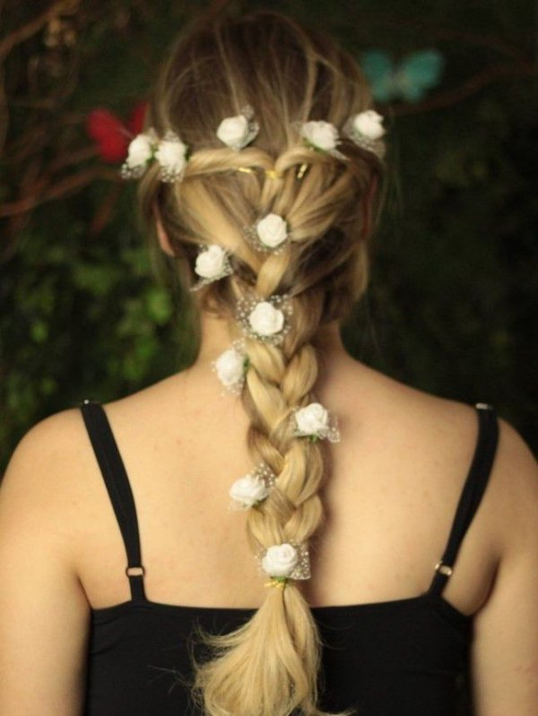 Grampo de Flores Branco Renda - 10 peças