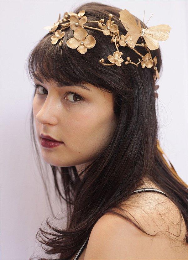 Tiara de Flores Dourada Fogos