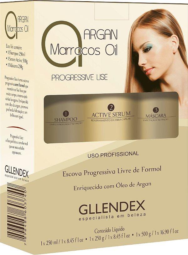 Kit 3 Produtos Argan Marrocos Oil Gllendex Progressive Lise