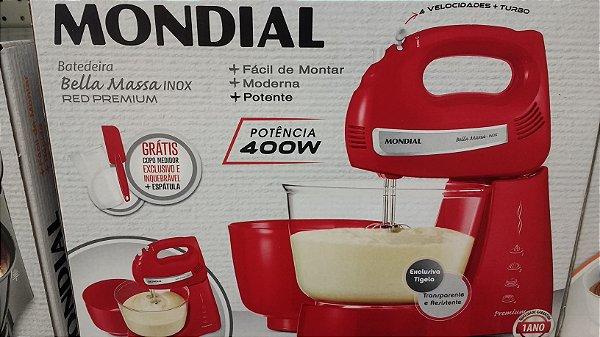 Batedeira Mondial Bella Massa Inox Vermelha 400w Premium