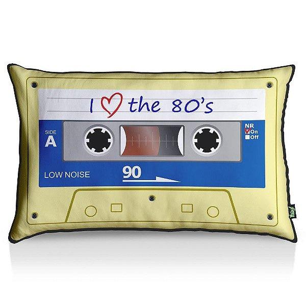 Almofada Fita Cassete I Love The 80s 55 x 35 cm - Fundo Preto