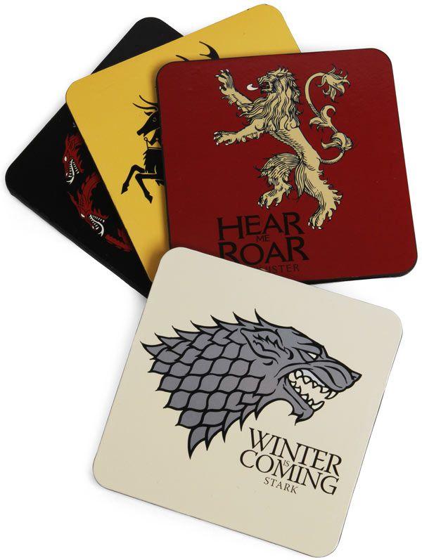Porta Copos Game of Thrones das Casas Stark, Targaryen, Baratheon e Lannister 10,2 x 10,2 cm 4 unid