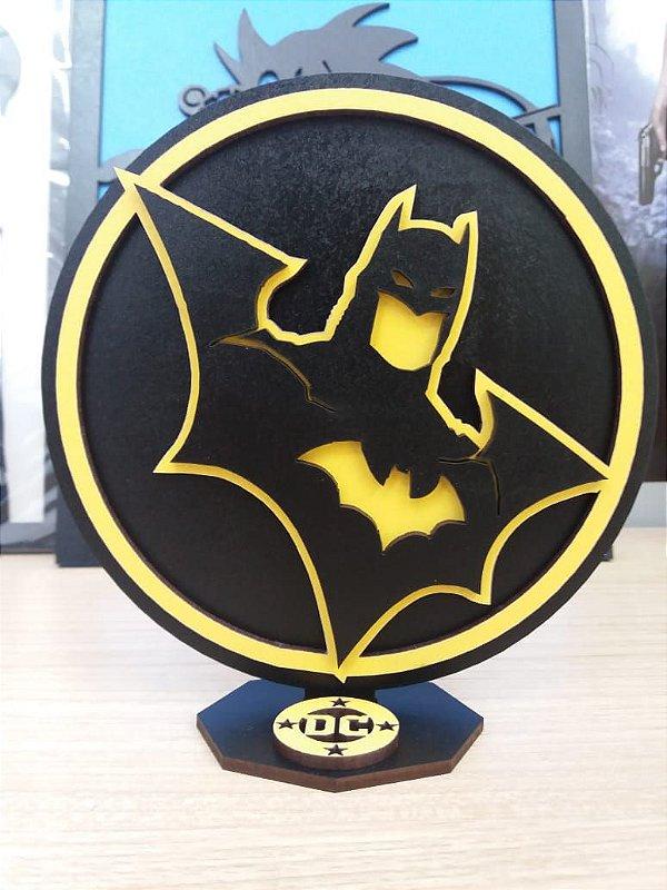 Brasão em MDF Colorido DC Batman - Busto 14,5 x 15,0 cm