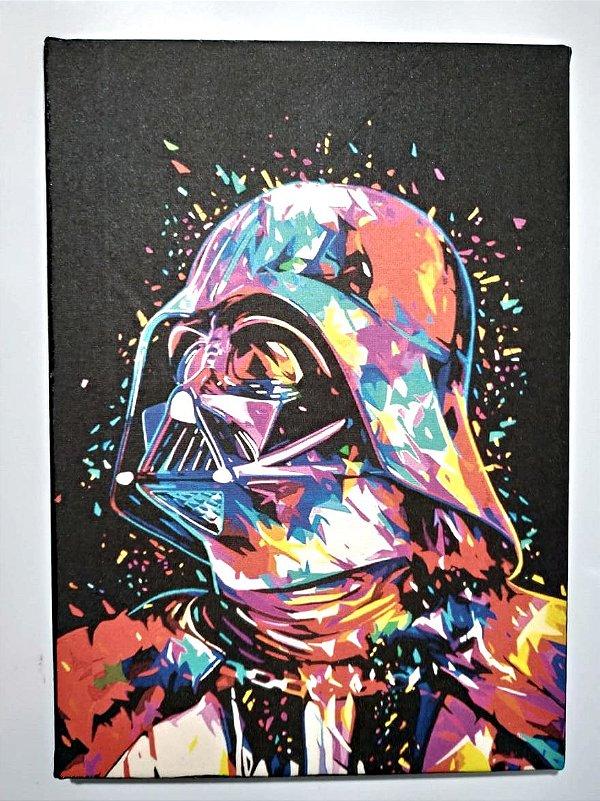 Quadro Pintado à Mão em Tela de Algodão - Star Wars - Darth Vader 20 x 28 cm