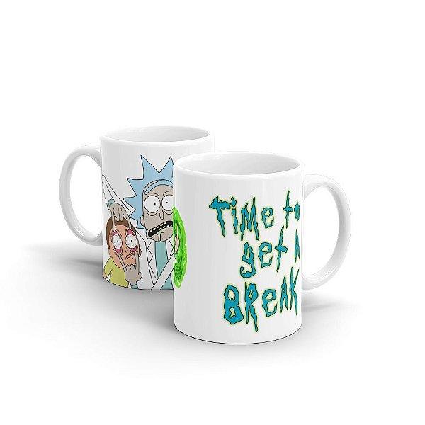 Caneca em Cerâmica Rick and Morty Time To Get A Break - 350 ml - 1 unid.