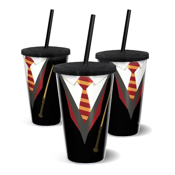 Copo Canudo Parede Dupla Harry Potter - Grifinória - 500ml