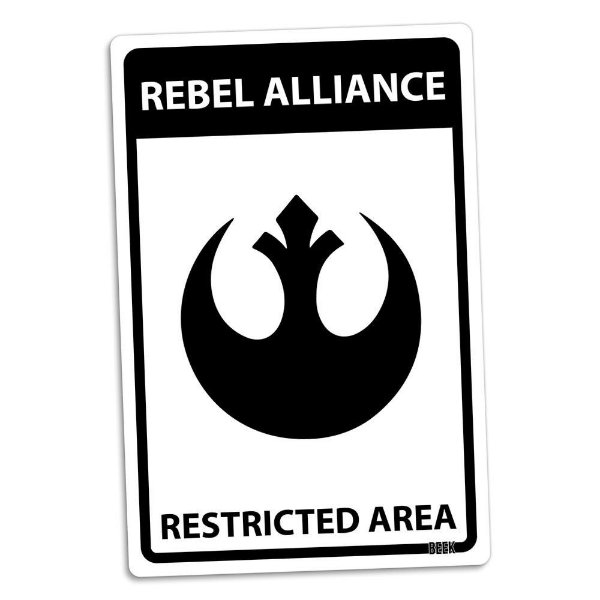 Placa Decorativa Área Restrita Star Wars Aliança Rebelde 16 x 24 cm