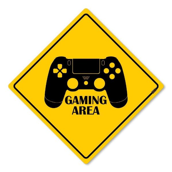 Placa Decorativa Gamer Gaming Area 30 x 30 cm