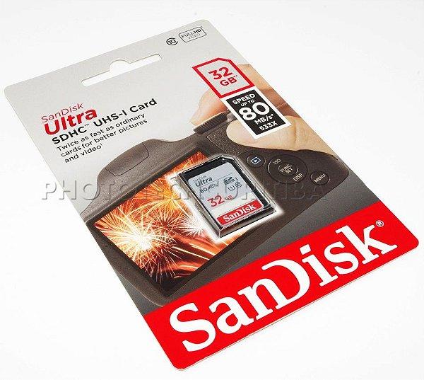 CARTÃO SD SANDISK ULTRA 32GB CLASS 10 80 MB/s SDHC UHS-I ORIGINAL