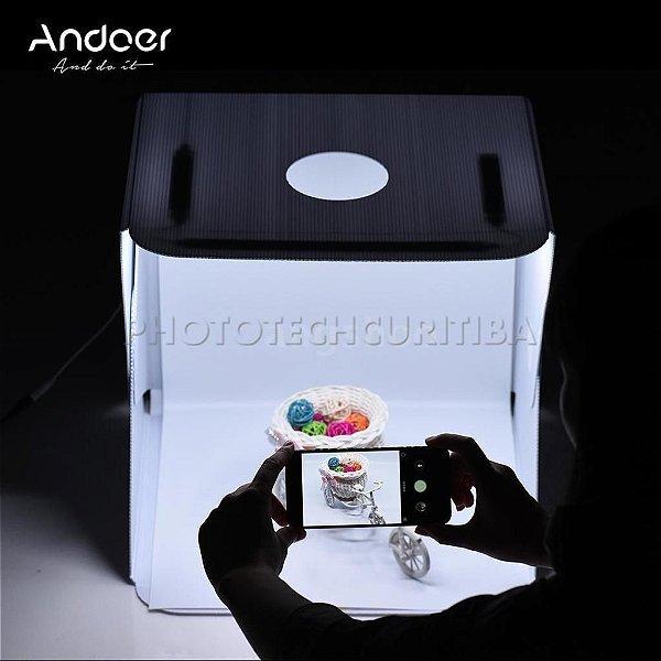 MINI STUDIO FOTOGRÁFICO ANDOER 40cm COM 112 LEDS