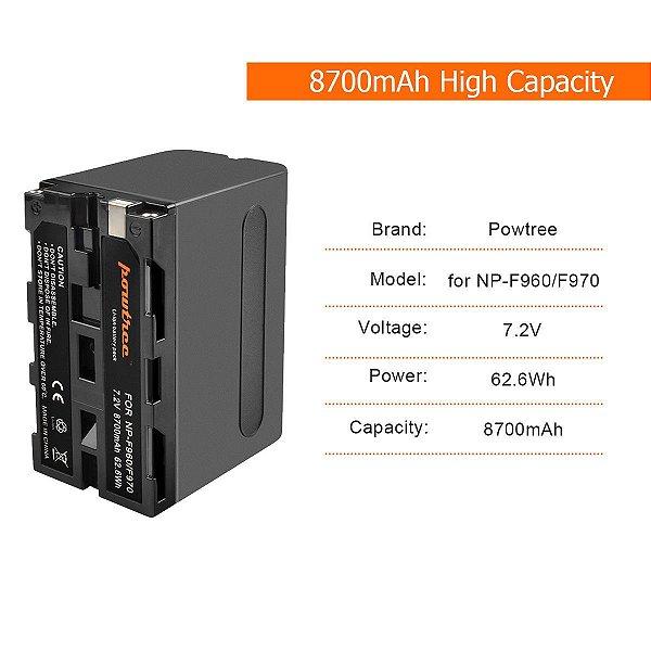 BATERIA SONY NP-F960 /F970 POWTREE 8700mAh 7.2v PARA ILUMINADORES DE LED