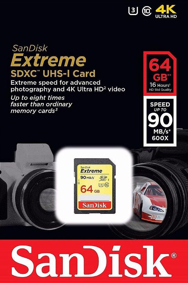 CARTÃO SD SANDISK EXTREME 64GB CLASS 10 90 MB/s SDXC UHS-I 4k
