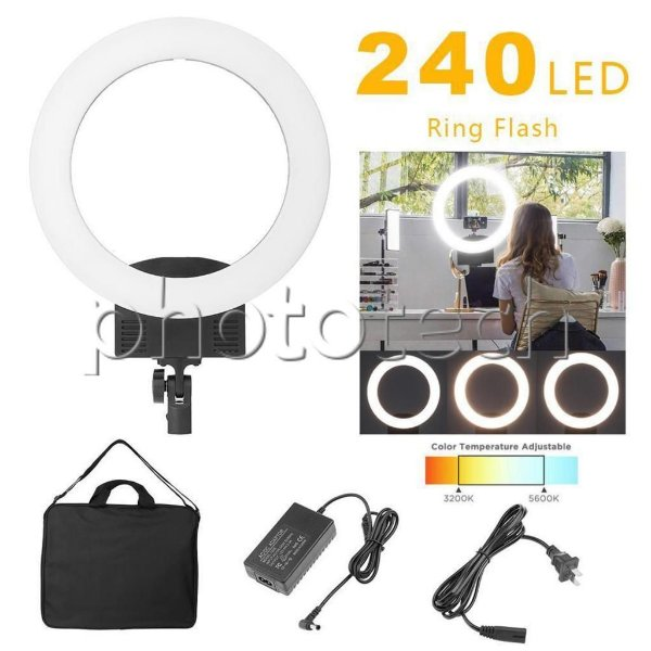 ILUMINADOR DE LED RING LIGHT 240 LEDS + FONTE AC (3200-5600k 2880lm 31cm)