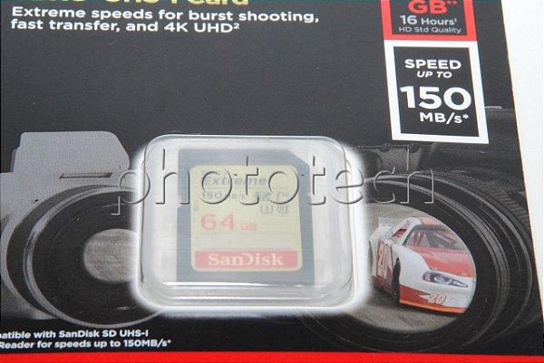 CARTÃO SD SANDISK EXTREME 64GB CLASS 10 150 MB/s SDXC UHS-I 4k ORIGINAL LACRADO