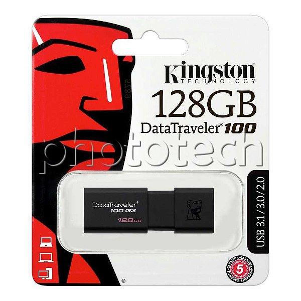PEN DRIVE KINGSTON DATATRAVELER 100 128GB USB 3.0 130MB/s ORIGINAL LACRADO